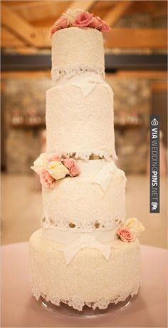 four tier lace wedding cake | CHECK OUT MORE IDEAS AT WEDDINGPINS.NET | #weddingcakes