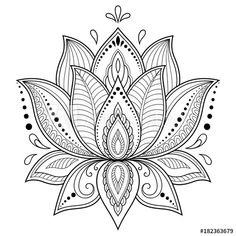 Mehndi lotus flower pattern for Henna drawing and tattoo. Decoration in ethnic oriental, Indian style. Mehndi lotus flower pattern for Henna drawing and tattoo. Decoration in ethnic oriental, Indian style. Lotus Mandala Design, Mandala Tattoo Design, Mandala Art, Lotus Flower Mandala, Mandalas Painting, Lotus Design, Mandalas Drawing, Mandala Coloring Pages, Lotus Mandala Tattoo