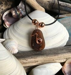 Amber Brown Hawaiian Sea Glass wrapped with Copper wire by TruBoo