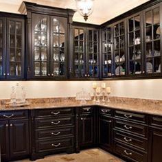 "Kitchen Ideas Black white butler's pantry, silestone ""lagoon"" counters, glass front"