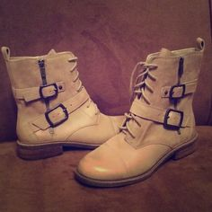 "NWOB Lucky Brand fawn leather ""Nolan"" boots - 9 New never worn - gotta stay with heels for me!!  These zip up on the insides so you don't really have to do the buckle and lace up as it would seem each time!!  Sz 9 Lucky Brand Shoes Lace Up Boots"