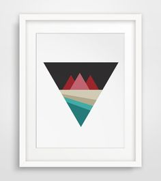 Geometric Mountain Print River Triangle by MelindaWoodDesigns, $5.00