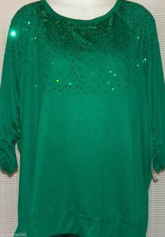 Green Blouse Tunic Top Size 2X Sequins New with Tag