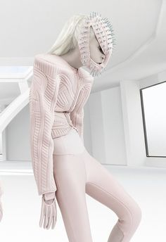 Avant garde futuristic fashion, pink structured jacket with exaggerated shoulders // Elena Slivnyak