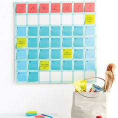 This Stickie Note Calendar is as changeable as your schedule. Instead of crossing out plans as dates shift, just move the notes and stack them up on busy days.