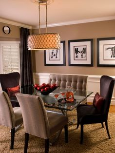 Modern Dining Room - neutral wall color and lighting