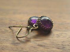 Amethyst Cabochon Earrings by PiedBeauty on Etsy