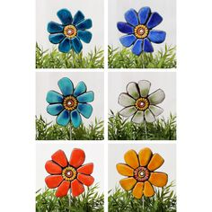flower garden stake- garden sculpture - garden decor - ceramic and metal… Soda Can Flowers, Flowers Uk, Polymer Clay Flowers, Ceramic Flowers, Sculpture Clay, Garden Sculpture, Small Garden Waterfalls, Decorative Garden Stakes, Painted Garden Rocks