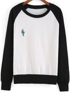 Black White Round Neck Cactus Embroidered Sweatshirt -SheIn(Sheinside) Mobile Site