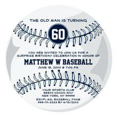 Sports Birthday Invitations Baseball Sports Surprise Funny Birthday Party RND Card