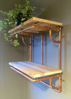 Copper Pipe and Reclaimed Wood Shelving Industrial by PlankandPipe