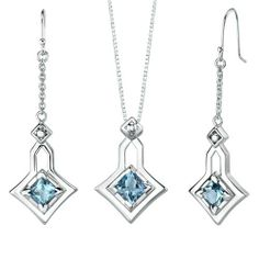 4.50 carats Princess Cut Swiss Blue Topaz Pendant Earrings Set in Sterling Silver Rhodium Finish . $53.99. Save 61% Off!