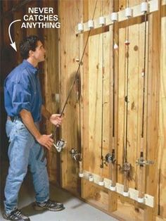 Sad for the guy but his fishing pole storage could prove very useful. With shelv… – Garage Organization DIY Fishing Pole Storage, Fishing Pole Holder, Pole Holders, Fishing Poles, Fishing Tips, Fishing Cart, Fishing Bobbers, Fishing Basics, Fishing Knots