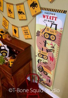 Construction Truck Growth Chart for Kids Boys by TBoneSquid Kids Room Accessories, Charts For Kids, Kids Boys, Truck, Construction, Prints, Building, Childrens Bedroom Accessories, Trucks