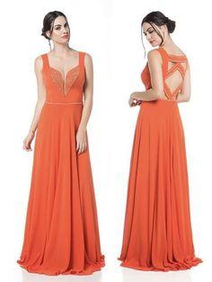 vestido de festa laranja