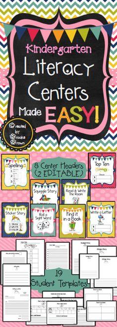 *NEW DESIGN!* Kindergarten Literacy Centers Made EASY!
