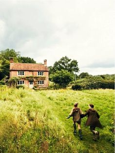 runaway with me, english cottage, field of green