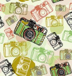 Vintage film camera seamless pattern pastel vector - by EkaterinaP on VectorStock®