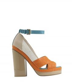 Aldo Rise X Ostwald Helgason Orange Ingvar Sandal - This new collection has the perfect mashup of modern textures and bold colors for spring! http://shop.harpersbazaar.com/designers/aldo-rise-x-ostwald-helgason