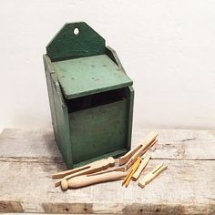 Vintage Wood Box with Vintage Wood Clothespins by TazamarazVintage
