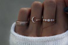 14kt gold and diamond crescent moon stud ring – Luna Skye
