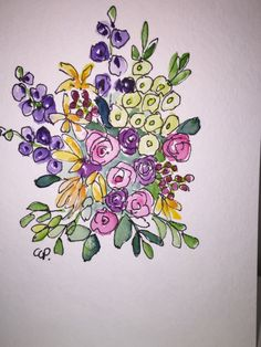 Flowers Water Card / Hand Painted Watercolor Card This card is an original painted on heavy watercolor card stock. The card is 5x7 and blank