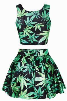 Marijuana Print Crop Top and Skirt $29.90