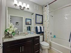 Model bathroom at AMLI Evanston, a luxury apartment community near Chicago