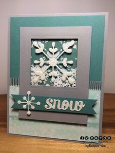 Stampin' Up!, Mojo All is Calm Specialty DSP*, Snowflake Card Thinlits… Stampin Up Christmas, Noel Christmas, Holiday Cards, Christmas Cards, Snowflake Cards, Snowflakes, Flip Cards, Shaker Cards, Winter Cards