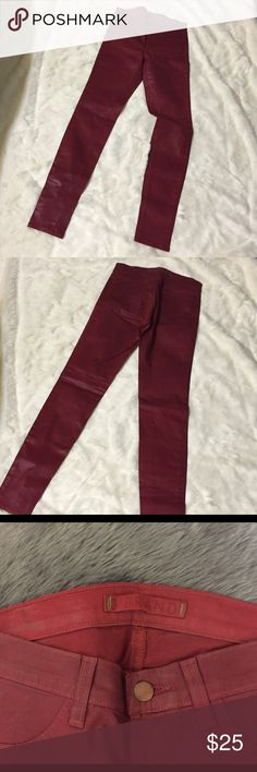 """J brand for intermix red leggings coated J brand for intermix red leggings coated stretch. 98% cotton 2% spandex  30"""" inseam 39"""" length size 25 .. New without tags J Brand Jeans Skinny"""