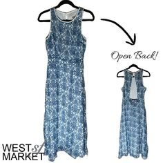 -NEW ARRIVAL-  Open Back Dress Beautiful dress with blue porcelain print. Open back with pearl closure at neck. Fully lined. PLEASE COMMENT TO BUY THIS LISTING with the SIZE you would like, I will make a separate listing for you! West Market SF Dresses Midi
