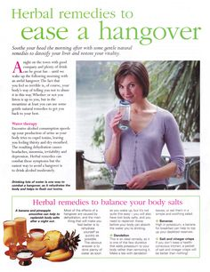 Herbal remedies to ease a hangover