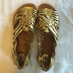 Tory Burch Espadrilles Gold leather. Great condition! Really comfortable...never rubbed my feet wrong! Tory Burch Shoes Espadrilles