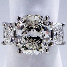 Three Stone Engagement Ring Cushion Cut Diamonds - Style # For me Please ; Engagement Solitaire, Cushion Cut Engagement Ring, Three Stone Engagement Rings, Wedding Ring Cushion, Cushion Ring, The Bling Ring, Bling Bling, Cushion Cut Diamonds, Cushion Diamond