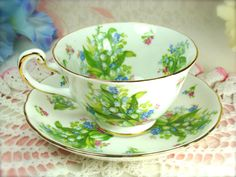 Vintage Royal Chelsea Teacup and Saucer Spring by HappyGalsVintage
