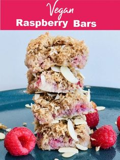 Vegan Raspberry Bars Recipes These Coconut Raspberry Bars are dairy-free and egg-free and are bursting with flavour! The soft, mashed raspberries provide a delightful contrast to. Easy No Bake Desserts, Vegan Desserts, Dessert Recipes, Dessert Bars, Vegan Food, Vegan Treats, Brunch Recipes, Food Food, Appetizer Recipes