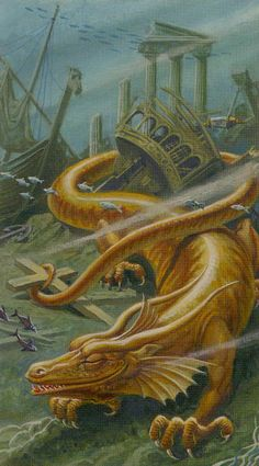 V. The Hierophant - Dragons Tarot by Manfredi Toraldo, Severino Baraldi