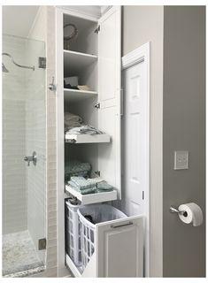 #narrow #linen #closet #narrowlinencloset Ideia de arrumos p wc