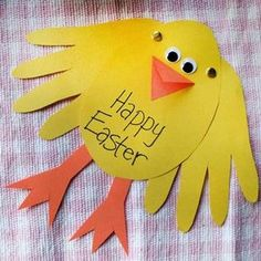 One of fun and easy Easter crafts for your kids to do. Handprint Chick Card!