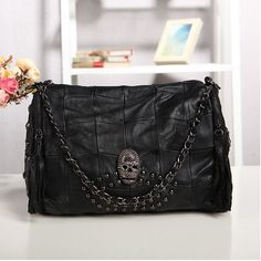 Find More Shoulder Bags Information about 2014 New Women leather bags_The new portable shoulder handbags in Europe and America rivet skull real sheepskin leather handbags,High Quality Shoulder Bags from Women Young Store on Aliexpress.com