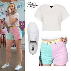 At today's Mixers Magnets event in Miami, Perrie Edwards wore her white Topshop Roll Back Crop Tee ($20.00) with green pink yellow and blue American Apparel Color Block Stretch Bull Denim High-Waist Cuff Shorts ($60.00) and true white Vans Canvas Authentic Sneakers ($45.00).