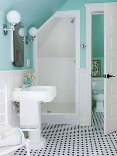 Small Bathroom Showers - All About Eaves For an attic or upper-level bathroom, investigate under the eaves to see if theres enough height to tuck in a shower. Position the showerhead at the highest point inside the shower. And, use the low-ceiling portion Bad Inspiration, Bathroom Inspiration, Small Bathroom With Shower, Bathroom Showers, Small Attic Bathroom, Shared Bathroom, Bath Shower, Baños Shabby Chic, Turquoise Bathroom