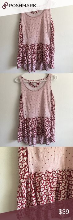 Anthropologie-Postmark Polka Dot & Cheetah Top Super cute lightweight top. Mixed media Cheetah Print and polka dots. Ruffled hem! Excellent used condition, no signs of damage. Size XS, please refer to measurements for sizing.  ✨Smoke & pet free home. ✨Offers always welcomed. ✨Bundle for a discount! Anthropologie Tops