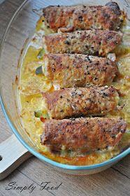 Simply Food: Roladki schabowe z szynką, serem i ogórkiem Simply Recipes, Simply Food, Food Design, Fried Rice, Salad Recipes, Cooking Recipes, Chicken, Vegetables, Breakfast