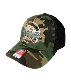 Custom Camo Mesh Trucker Hat WWII Military Motorcycle Embroidery Cotton One Size