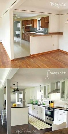 Kitchen Makeover 100 Small Kitchen Renovations Before and After - Small Kitchen Renovations – Remember that the kitchen is one of the most important section of the house. You had to have a well plan for renovations Kitchen Redo, Living Room Kitchen, Island Kitchen, Kitchen Ideas, Island Bar, Kitchen Cabinets, Kitchen Designs, Living Rooms, Kitchen Countertops