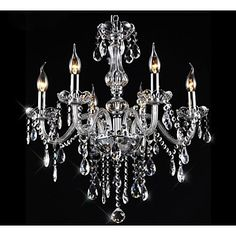 Putian@Chandeliers 6 Lights Silver Vintage  in Crystal Feature – CAD $ 219.08