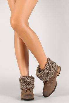 Chunky Knit Cuff Ankle Bootie