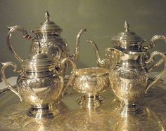 """Vintage International Sterling Hand Chased """"Lord Saybrook"""" Tea Set - 1950s - from DustyMillerAntiques"""