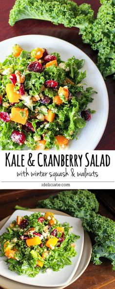 This healthy and delicious kale salad combines fresh chopped kale with winter squash, cranberries, walnuts, and an easy honey dijon balsamic dressing    #vegan #kale #salad #recipe